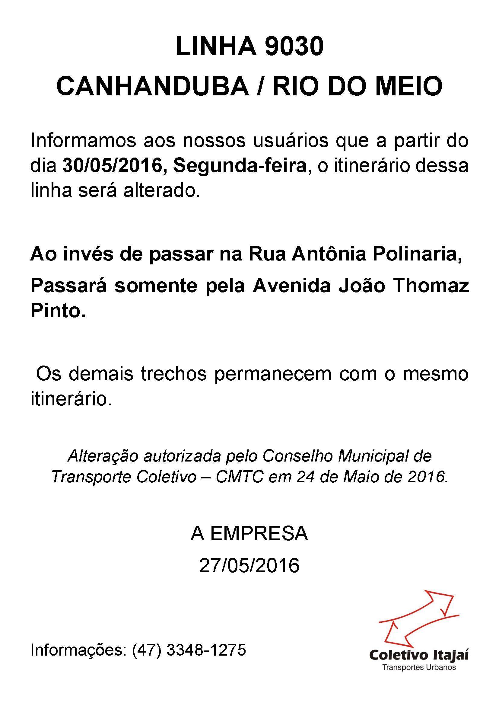Linha 9030 - Alteração Itinerário - Maio 2016