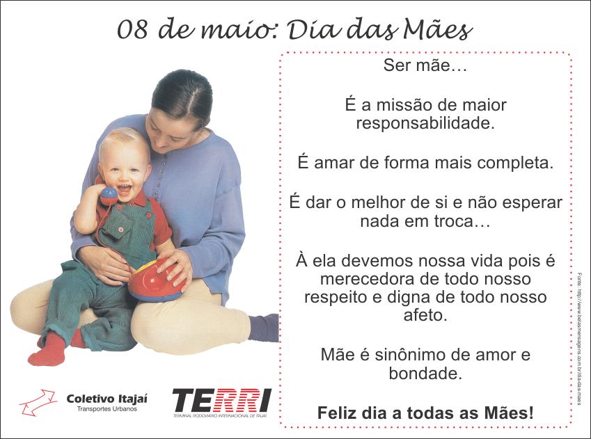 Feliz dia a todas as mães!